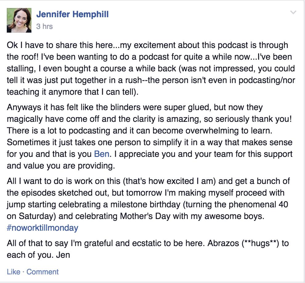Jen Hemphill Facebook Post